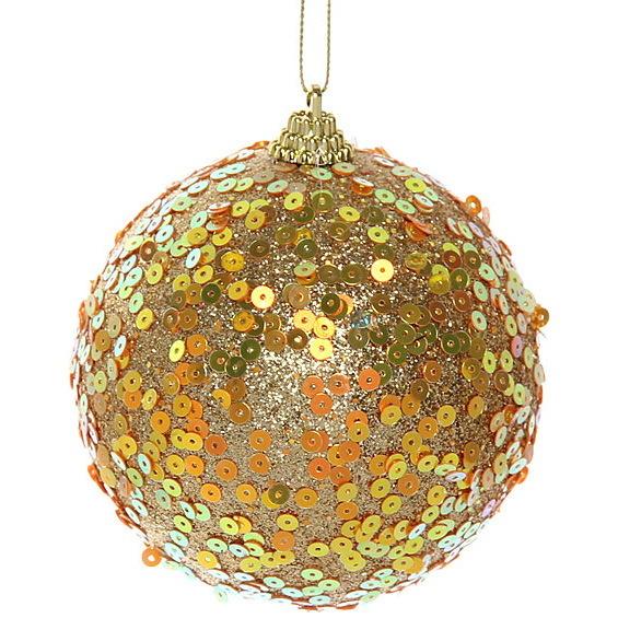 Новогодние шары ″Пайетки на золоте″ 10см (набор 2шт.) купить оптом и в розницу