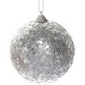 Новогодние шары ″Пайетки на серебре″ 10см (набор 2шт.) купить оптом и в розницу