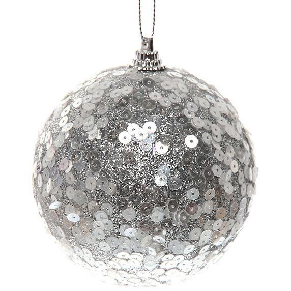 Новогодние шары ″Пайетки на серебре″ 8см (набор 3шт.) купить оптом и в розницу
