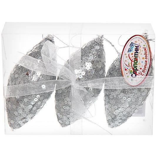 Ёлочные игрушки, набор 3шт, 8см ″Пайетки Серебро″ купить оптом и в розницу