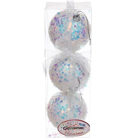 Новогодние шары ″Пайетки на жемчуге″ 8см (набор 3шт.) купить оптом и в розницу