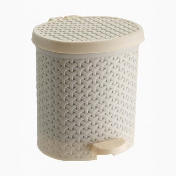 Контейнер педальный для мусора плетеный 6 л  (беж ) *6 245х230х260 купить оптом и в розницу