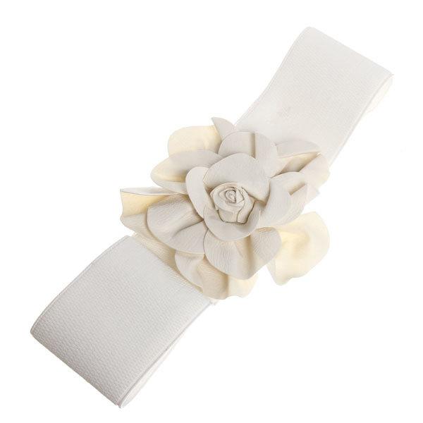 Ремень женский эко-кожа ″Flower″, цвет белый 75*7,5см купить оптом и в розницу