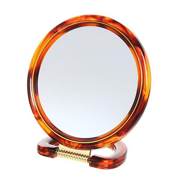 Зеркало настольное в пластиковой оправе ″Янтарь″ круглое, подвесное d-18см купить оптом и в розницу