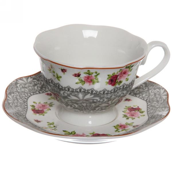 Чайный набор 4 предмета ″Романтика -6″ (2кружки 180мл +2блюдца) купить оптом и в розницу