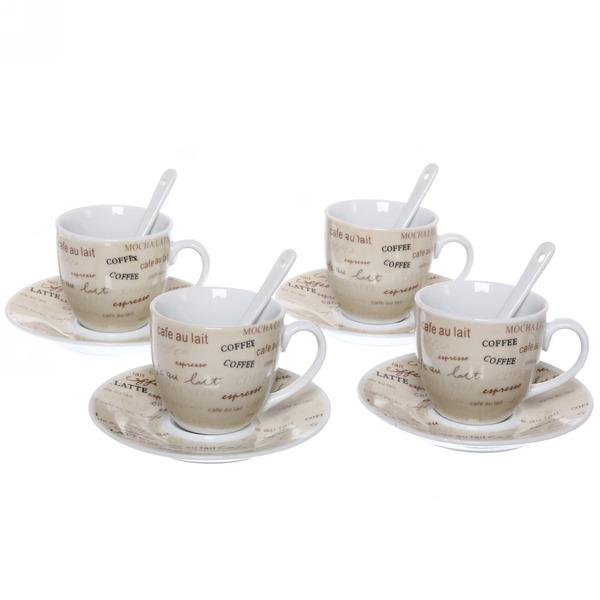 Чайный набор 12 предметов ″Кофейный аромат″ (4кружки 180мл +4блюдца+4ложки) 416-7 купить оптом и в розницу