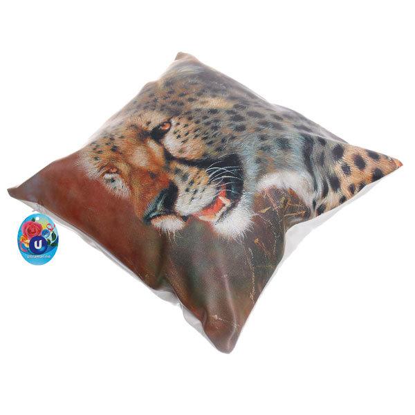 Подушка декоративная 44*44см ″Гепард″ искусственная кожа купить оптом и в розницу