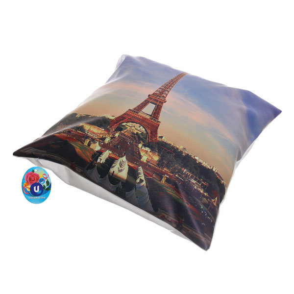 Подушка декоративная 44*44см ″Париж″ искусственная кожа купить оптом и в розницу