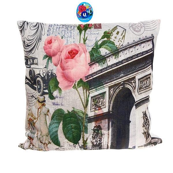 Подушка декоративная 44*44см ″Париж″ винтаж купить оптом и в розницу