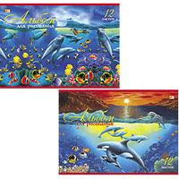 """Альбом д/рис.А4 12л, HATBER ВК, """"Дельфины"""" купить оптом и в розницу"""