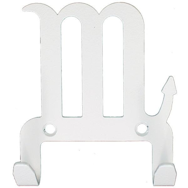 Крючок универсальный, серия ″Зодиак″, модель ″Скорпион символ - 2″, цвет белый купить оптом и в розницу