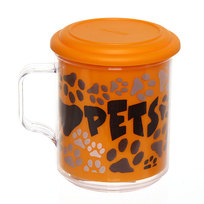 Термокружка 400 мл ″Любимые животные″ с крышкой оранжевая купить оптом и в розницу