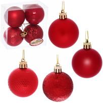 Новогодние шары 5 см (набор 4 шт) ″Микс фактур″, красный купить оптом и в розницу