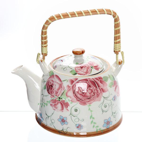 Чайник заварочный керамический 750 мл с ситом ″Розы″ ХХ661 купить оптом и в розницу