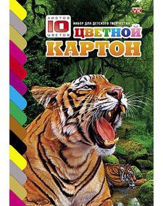 """Картон цветной А4, 10л, 10цв, папка, на клею, HATBER, VK """"Тигр"""" купить оптом и в розницу"""