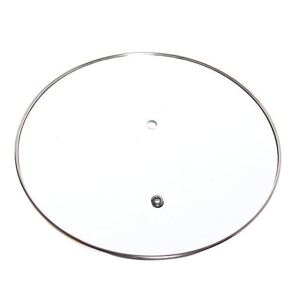 Крышка без ручки 18 см стеклянная с металлическим ободком и пароотводом купить оптом и в розницу
