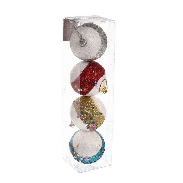 Новогодние шары ″Звездочки″ 7см (набор 4шт.) купить оптом и в розницу