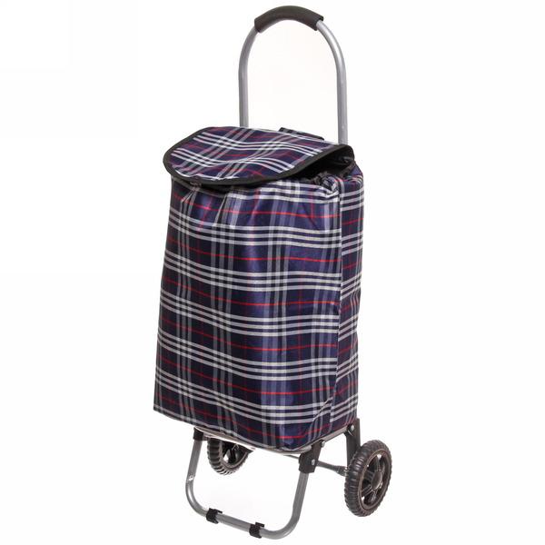 Тележка хозяйственная с сумкой (90*36*30см, колеса 15см,грузоподъемность до 25 кг) клетчатая купить оптом и в розницу