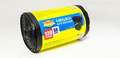пакеты д/мусора в рулоне 120л/50шт. (крепак) 1*10 купить оптом и в розницу