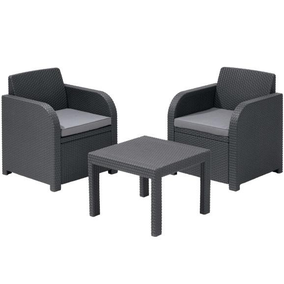 Комплект садовой мебели  ( ротанг) ATLANTA 2 стула,стол антрацит. с подушками Curver купить оптом и в розницу