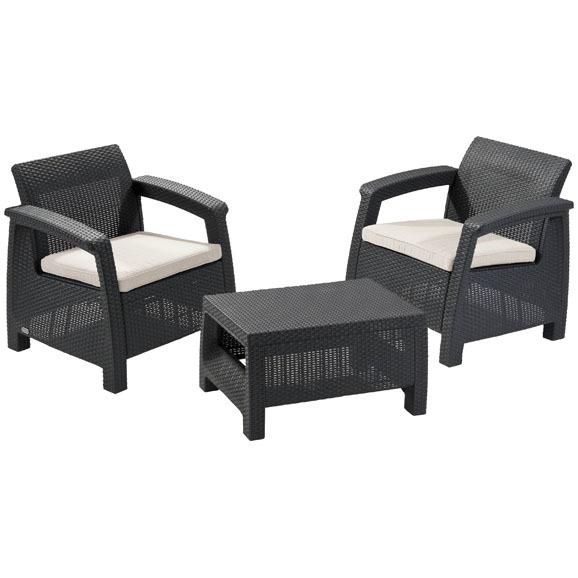 Набор мебели  СORFU WEEKEND 2 стула,стол беж. с подушками купить оптом и в розницу