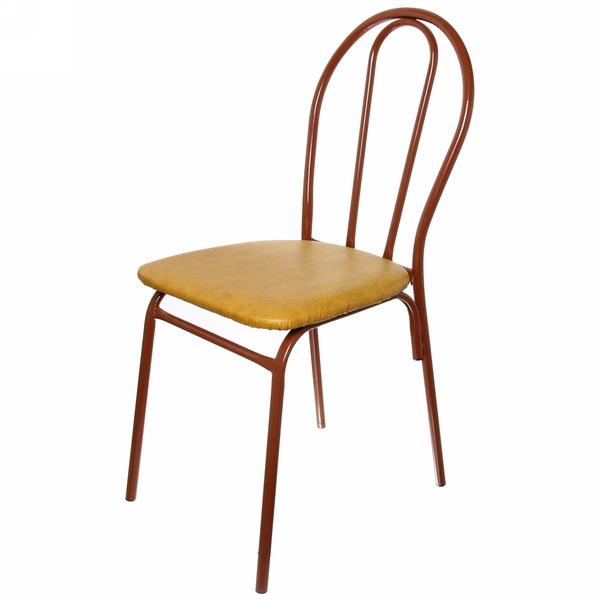 Стул металлический, цвет: ножки св.коричневый, сиденье горчичный купить оптом и в розницу