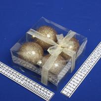 Украшение елочное Шары 8см (4шт) золото S-12077/G купить оптом и в розницу