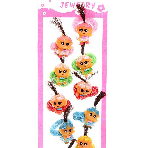 Резинки для волос на блистере 12шт ″Девочка с хвостиками″, цвет микс купить оптом и в розницу