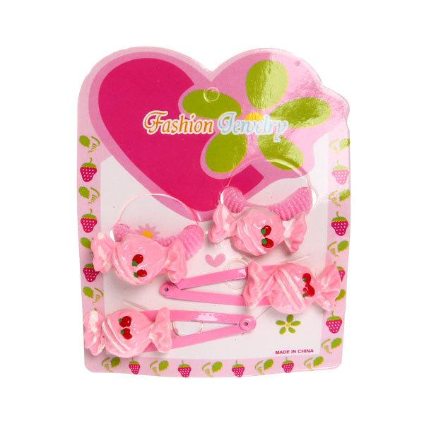 Резинки и зажимы в наборе 4шт ″Конфетки″, цвет розовый купить оптом и в розницу