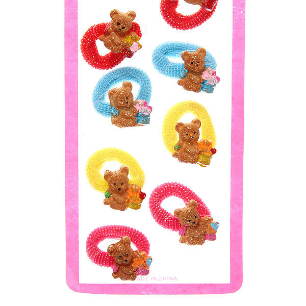 Резинки для волос на блистере 12шт ″Мишка″, цвет микс купить оптом и в розницу