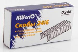 Скобы для степлера № 24/6 KW-trio 1000шт к/у купить оптом и в розницу