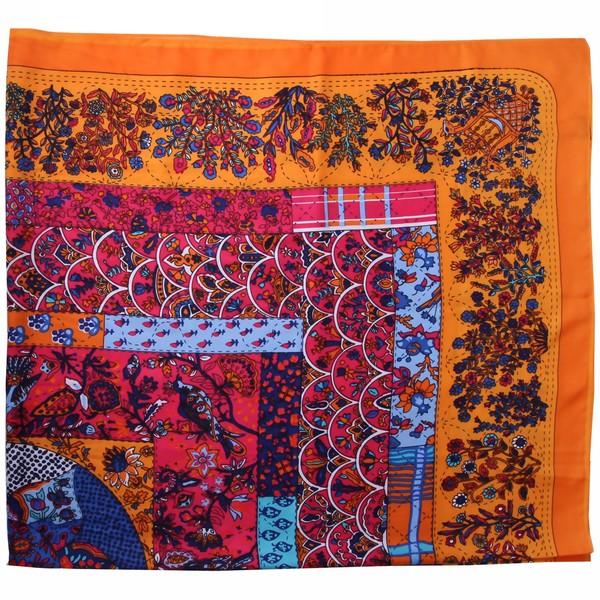 Платок женский оранжевый, 80% лен 20%, 50*50см купить оптом и в розницу