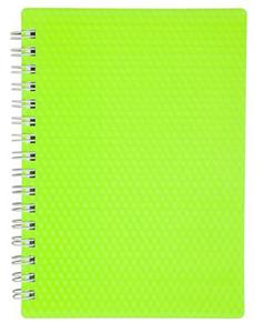 """Книжка записная А6, 80л, клетка, гребень, пласт.обл. HATBER, """"DIAMOND NEON Зеленая"""" купить оптом и в розницу"""
