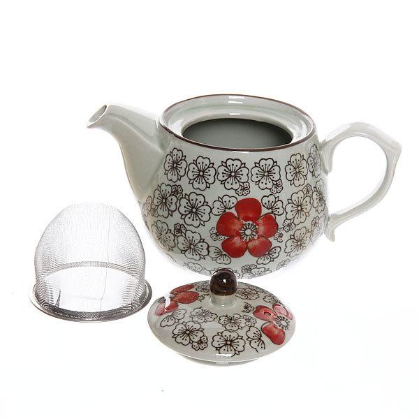 Чайник заварочный керамический 500 мл ″Красный цветок″ купить оптом и в розницу