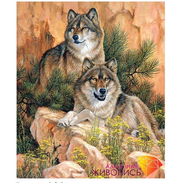 Набор ДТ Картина стразами Пара волков АЖ-1052 купить оптом и в розницу