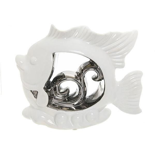 Статуэтка керамическая ″Белый кристалл″ Рыбка Серебряная, 18*25см купить оптом и в розницу