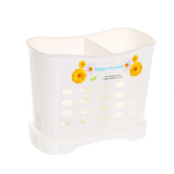 Подставка для столовых приборов 13*16*8см пластиковая, 2 секции купить оптом и в розницу