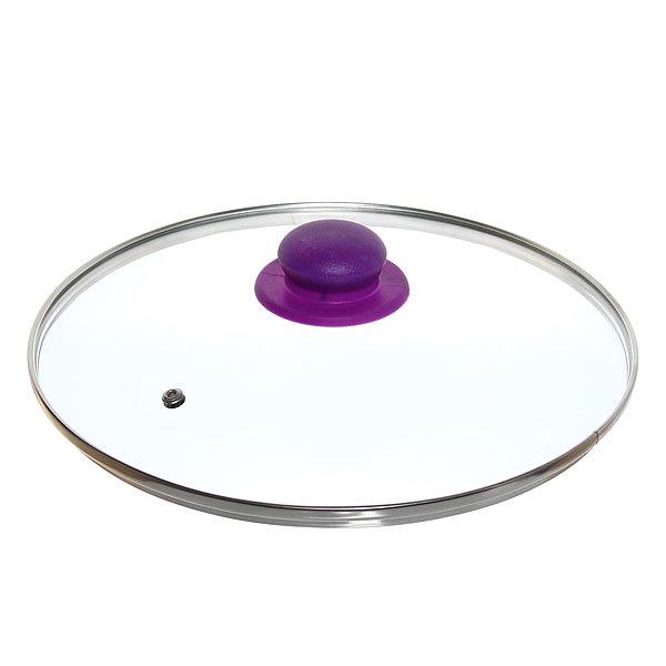 Крышка стеклянная 28 см с пароотводом цветная ручка купить оптом и в розницу