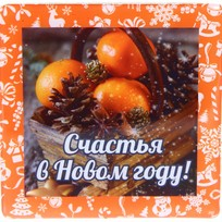 Магнит виниловый с заливкой ″Счастья в Новом году!″, Мандарины и шишки Вкус праздника купить оптом и в розницу