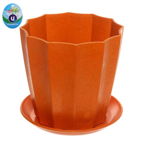 Горшок для цветов ЭКО Ракушка″ 16*15,5см SHY-17B оранжевый купить оптом и в розницу