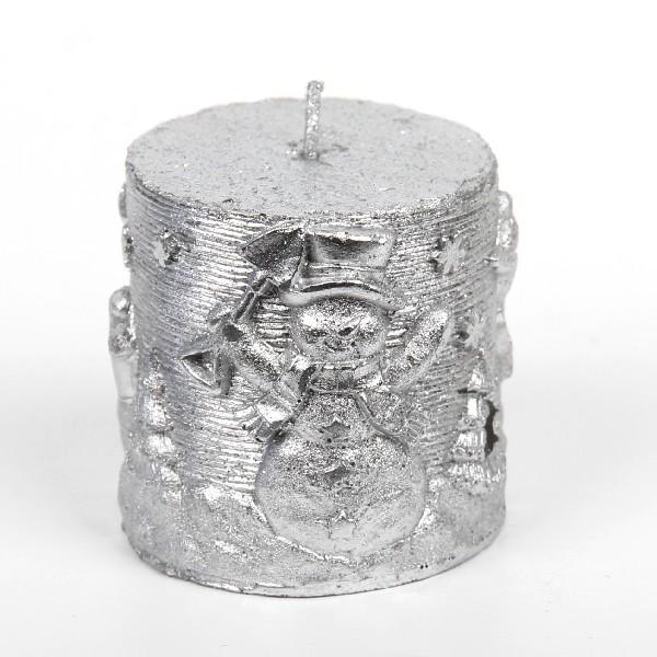 Свеча Новогодняя″ Снеговик ″ столбик 9см серебро купить оптом и в розницу