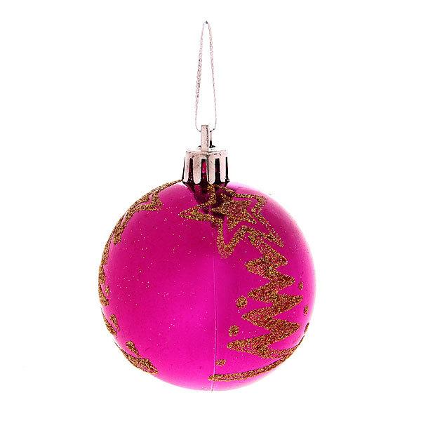 Новогодние шары ″Пурпурная ёлочка″ 6см (набор 6шт.) купить оптом и в розницу