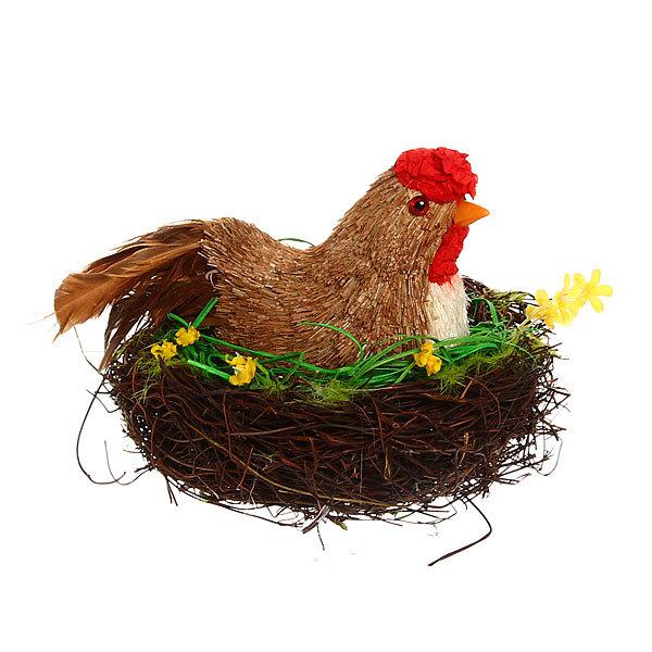 Садовая фигура ″Курица наседка″, солома 16*19 см купить оптом и в розницу