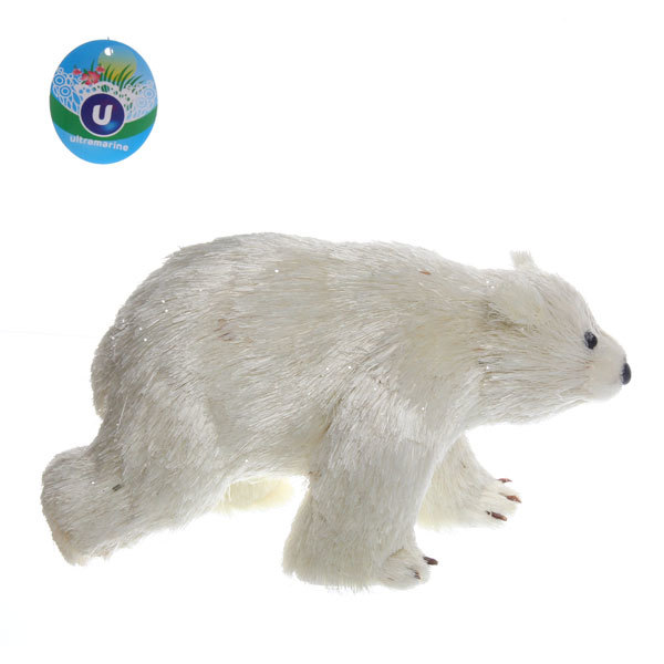 Садовая фигура ″Белый медведь″, солома, 22*13 см купить оптом и в розницу