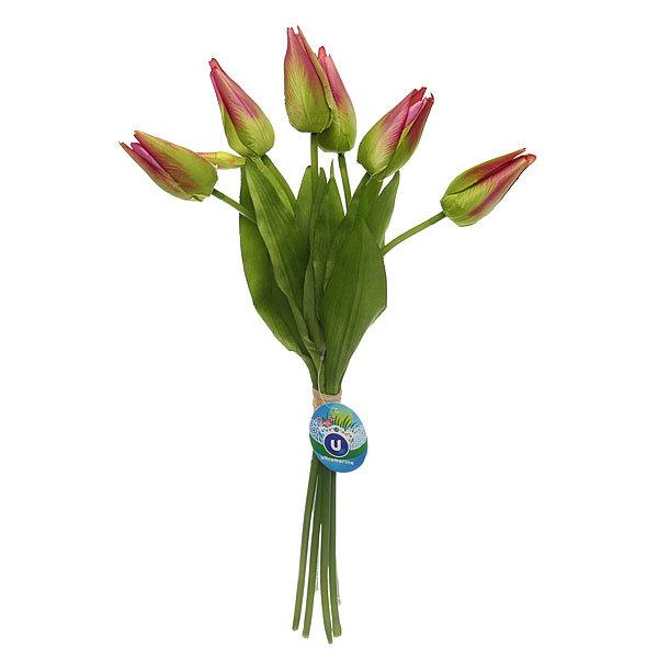 Цветы искусственные 40см букет Тюльпаны 6шт сиреневые 9178-8 купить оптом и в розницу