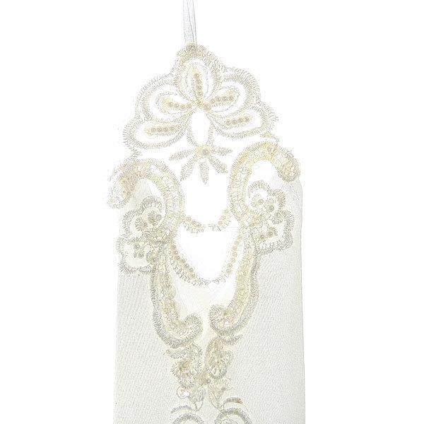 Перчатки для невесты ″Мадам″ с вышивкой и бусинками 20 см без пальцев купить оптом и в розницу