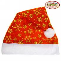Колпак новогодний, красный ″Снежинки″ , 28*38см купить оптом и в розницу