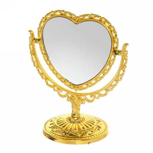 Зеркало настольное в пластиковой оправе ″Версаль - Сердце″ цвет золото, двухстороннее, с увеличением 20см купить оптом и в розницу