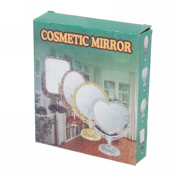Зеркало настольное в пластиковой оправе ″Версаль - Сердце″ цвет серебро, двухстороннее, с увеличением 20см купить оптом и в розницу