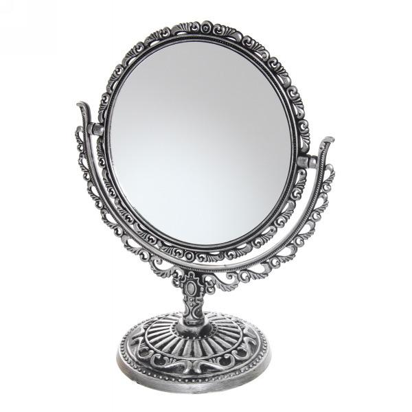 Зеркало настольное в пластиковой оправе ″Версаль Винтаж - Овал″ цвет антрацит, двухстороннее 18см купить оптом и в розницу